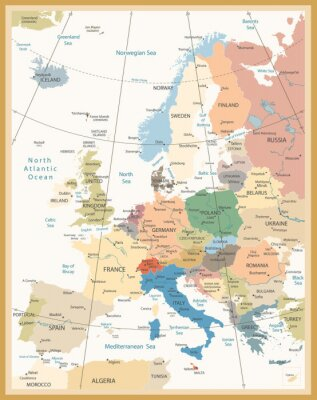 Fotomural Mapa político de cores retro de Europa