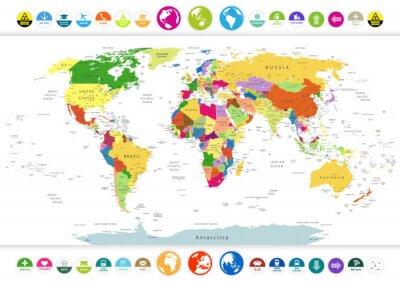 Fotomural Mapa Político Mundial, com ícones lisos e globos