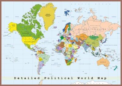 Fotomural Mapa Político Mundial detalhada