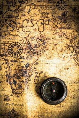 Fotomural Mapa velho com compasso