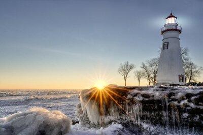 Fotomural Marblehead Lighthouse Sunrise Inverno