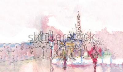 Fotomural Marco de Paris com aquarela em um dia chuvoso - opinião antiga do museu com torre Eiffel atrás. Aguarela chique. Panorama parisiense. Panorama de aquarela parisiense. Paisagem chique