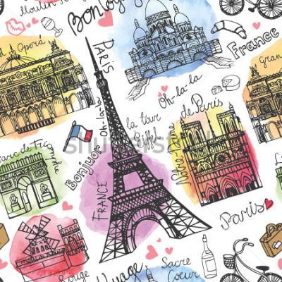 Fotomural Marco de Paris, rotulação sem costura padrão. Caneca de cerveja. Doodle vintage. Em boa viagem francesa, Olá, Notre Dame, Torre Eiffel, Sacre Coeur, Ópera Grande, arco do triunfo, Moulin Rouge.