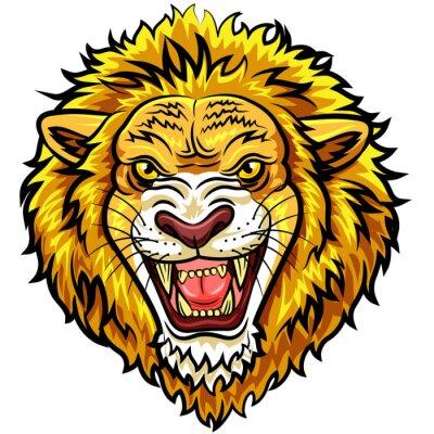 Fotomural Mascote irritada do leão da cabeça dos desenhos animados