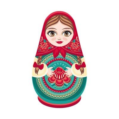 Fotomural Matryoshka. Boneca de madeira popular russo. Boneca Babushka. Ilustração do vetor no fundo branco
