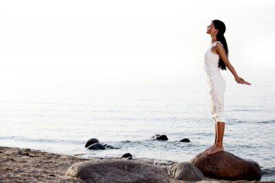 Fotomural meditação na praia de areia