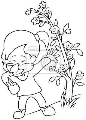 Menina Com Flor Preto E Branco Dos Desenhos Animados