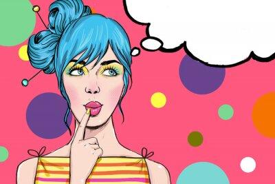Fotomural Menina do pop art. Convite do partido