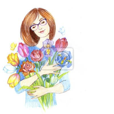 Menina Feliz Mulher De Negocios Com Um Ramalhete Das Flores