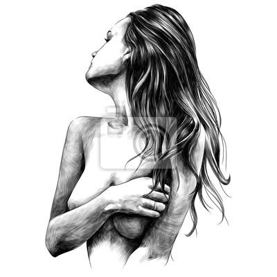 Fotomural menina nua levanta desenhos vetoriais esboço desenho preto e branco monocromático