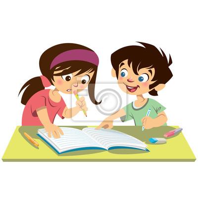Menino E Menina Dos Miudos Alunos Estudando Fazendo Sua Licao