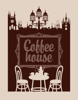 Fotomural Menu para casa de café com moldura e da cidade velha