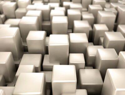 Fotomural Metálicos, cubos, metal, formas, fundo