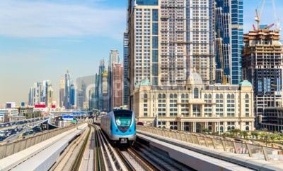 Fotomural Metro, trem, vermelho, linha, Dubai