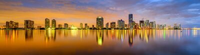 Fotomural Miami, Florida Biscayne Bay Skyline Panorama