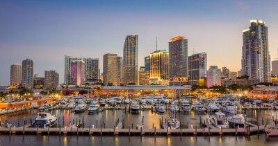 Fotomural Miami panorama skyline da cidade no crepúsculo