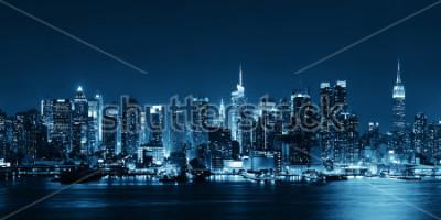 Fotomural Midtown manhattan, skyline, em, preto branco, em, anoitecer, panorama, sobre, hudson, rio