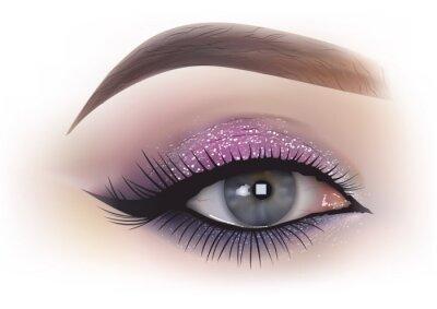 Fotomural Moda mulher maquiagem dos olhos - ilustração realista detalhada, vetor