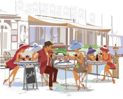 Fotomural Moda pessoas no café da rua na cidade.