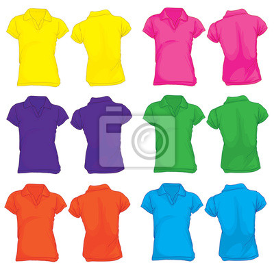 abfaec763ffd7 Modelo da camisa polo das mulheres em muitas cores fotomural ...