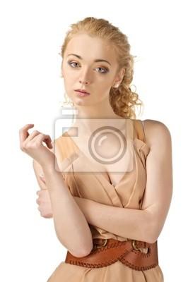 Fotomural Modelo de forma em um vestido à moda.