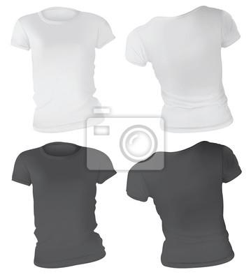 a642a6945bb1d Modelo preto e branco do projeto do t-shirt das mulheres fotomural ...