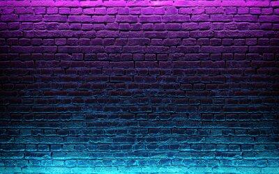 Fotomural Modern futuristic neon lights on old grunge brick wall room background. 3d rendering