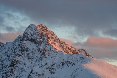 Fotomural Montanha, pôr do sol, panorama, Inverno, alto, Tatras - Swinica, pico, polaco, eslovaco, borda