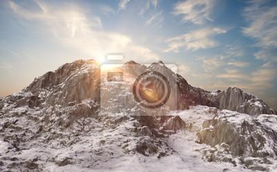 Fotomural Montanhas nevadas. Paisagem de inverno