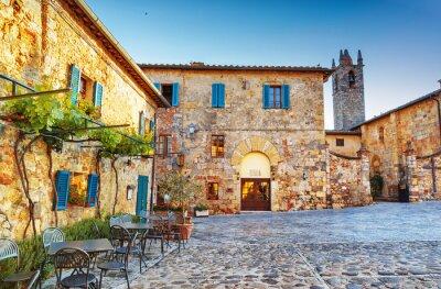 Fotomural Monteriggioni quadrado de cidade histórica antiga, Italy.