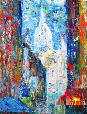 Fotomural Montmartre street in the Paris, France painted by acrylic