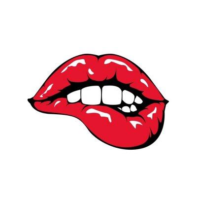 Fotomural Mordendo os lábios vermelhos ícone no fundo branco.
