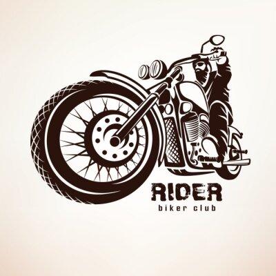 Fotomural Motociclista, motocicleta, grunge, vetorial, silueta