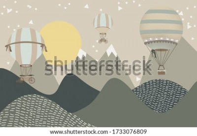 Fotomural mountains and hot air balloons child room wallpaper