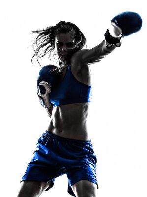 Fotomural Mulher boxer boxing kickboxing da silhueta isolado