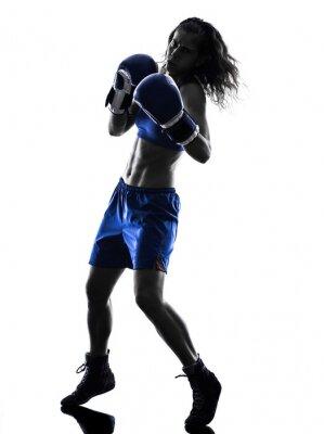 Fotomural Mulher boxer boxing kickboxing silhueta isolado