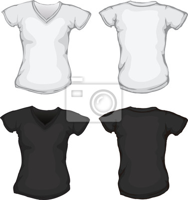 ee3e9715b99dd Mulher branca molde da camisa de gola v preta fotomural • fotomurais ...
