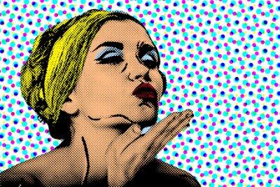 Fotomural Mulher cómica do estilo do pop art, poster retro