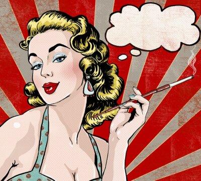 Fotomural Mulher do pop art com a bolha do discurso e do cigarro.