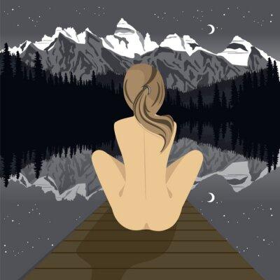 Fotomural Mulher nua nova bonita que senta-se no cais que olha o lago da montanha na noite