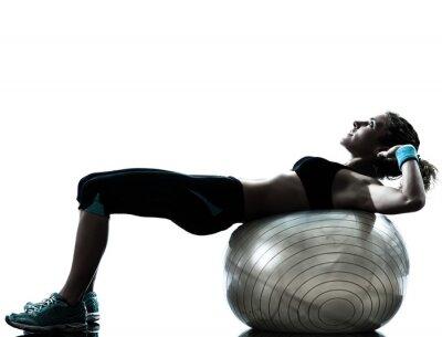 Fotomural Mulher que exercita o exercício bola de fitness