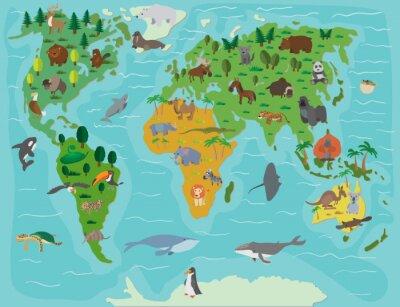 Fotomural Mundo animal. Mapa engraçado dos desenhos animados