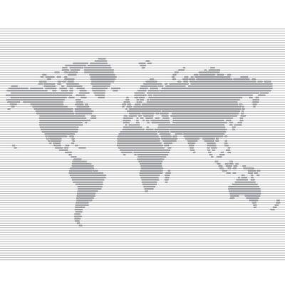 Fotomural mundo linha listrado modelo de mapa vetor