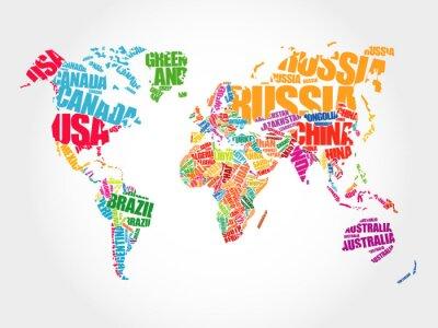 Fotomural Mundo, mapa, tipografia, palavra, nuvem, conceito, nomes, países