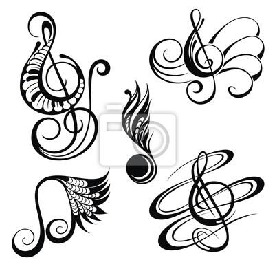 Musica Notas Desenho Elementos Jogo Fotomural Fotomurais