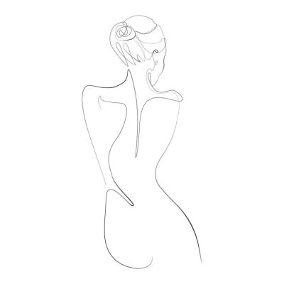 Fotomural Naked woman standing back one line drawing on white isolated background. Vector illustration