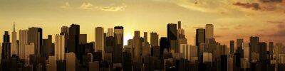 Fotomural Nascer do sol-cidade panorama / 3D rendem de cidade moderna no nascer do sol ou pôr do sol