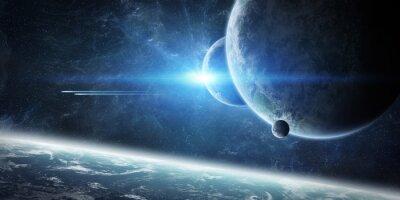Fotomural Nascer do sol sobre o planeta Terra no espaço
