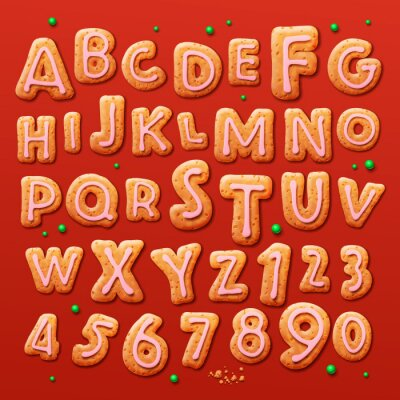 Fotomural Natal biscoitos de gengibre alfabeto e os números