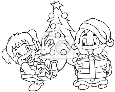 Natal Das Criancas Preto E Branco Dos Desenhos Animados